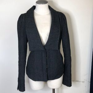 Free People Grey herringbone jacket blazer size 12
